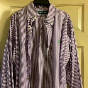 Purple Striped Ralph Lauren Button Up Shirt